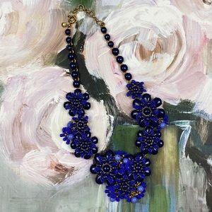 J. Crew Blue & Gold Gardenia Statement Necklace